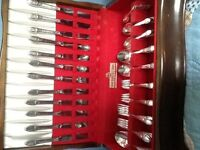 """1847 Rogers Bros 'IS' Silverware with Case ~ """"First Love"""""""