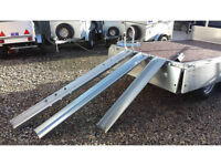 galvanised loading ramps & runners for holding motorbikes with front wheel hoop, quads & lawnmowers