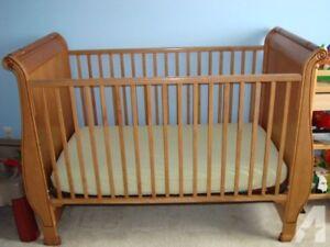 Maple sleigh bed crib