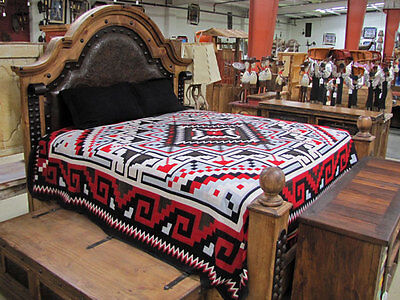 3891 Reversible Fine Navajo Design Southwest Bedspread King Throw Blanket Afghan