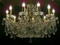 ABSOLUTELY STUNNING 3 FOOT WIDE LEAD CRYSTAL CHANDELIER