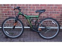 "Apollo Outrage Full suspension Mountain Bike 20"" Frame, with free new Light Set, Lock and Helmet"