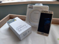 Samsung Galaxy S6 Edge Gold, In Box With Boxed Upright Samsung Wireless Charger
