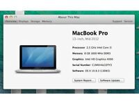 "Apple Macbook pro 13"" mid 2012 8GB/500GB/HD4000/i5 3.1GHz (2013 machine) CZECH"