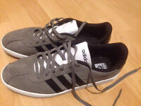 Men's used adidas suede trainers size 10 grey
