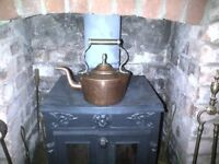 Vintage antique copper and brass kettle stove fireside or kitchen range hob