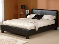BRAND NEW 4ft6 Double/Small Double LEATHER Bed With Luxury Crown Orthopedic 11.5''ExtraFirm Mattress