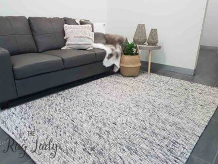 Medium Grey Felted Wool Rug