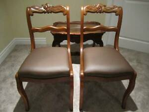 Beautiful Rose Carved Victorian Walnut Chair Set