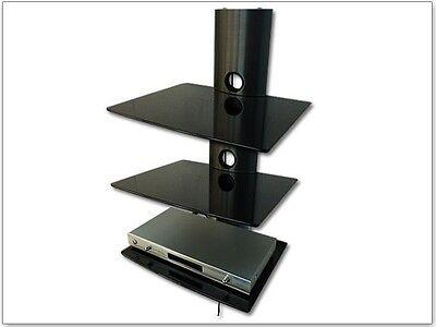 Schwarz 3 Regal Tv-ständer (DVD Bluray Media Regal 3 Glas Ablagen Konsole Player Halterung Halter schwarz)
