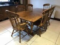 Oak Style Dining Table & Six Chairs