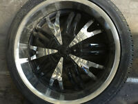 Set of 4 used Summer tire and rim 255/35R22