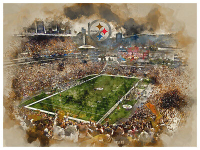 Pittsburgh Steelers Decorations (Pittsburgh Steelers Poster Watercolor Art Print Man Cave Decor)