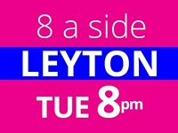 Tuesday 8pm Friendly 8 a side football at Stratford, Leyton needs players