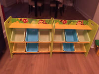 Kids' jungle wooden shelves with 6 storage boxes