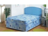 BRAND NEW SINGLE DOUBLE DIVAN BED BASE AND ECONOMY SPRING MATTRESS HEADBOARD/DRAWERS EXTRA