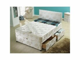 DOUBLE DIVAN BED BASE WITH SEMI ORTHOPAEDIC MATTRESS AVAILABLE IN OTHER SIZES SINGLE & KINGSIZE
