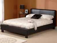 NEW LOOK DOUBLE LEATHER BED WITH ORTHOPAEDIC MATTRESS !!SAME DAY CASH ON DELIVERY