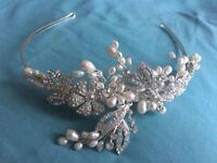 Diamanté and pearl head band