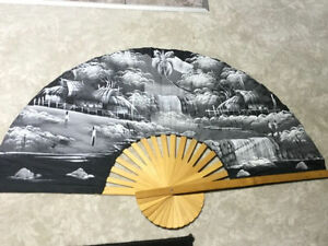 Large Hand Painted Chinese Fan (Symbol of Goodluck)