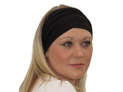 Black Tube Headband Bandeau Scarf Stretch Hair Band Multi Purpose Head Cover