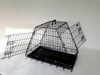 Dog narrow fit sloped car crate cage , hatchback leaves boot space for other items
