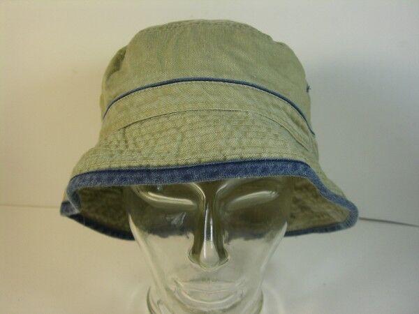 Mütze Anglermütze Strandhut Gr. 58 beige Jeans mit Streifen blau echt Vintage