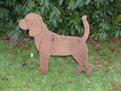 Beagle / Hund Gartendeko Metall Edelrost Stecker