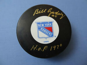 BILL GADSBY (RIP) Signed New York Rangers NHL Hockey Puck GA-COA