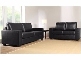 BRAND NEW BOX SOFA // 3 & 2 SEATER SOFA SET IN BLACK FAUX LEATHER! CASH ON DELIVERY