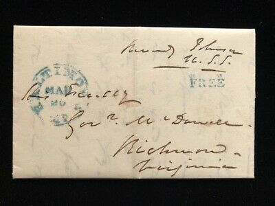 MD BALTIMORE 1845 STAMPLESS COVER FREE FRANK REVERDY JOHNSON, W/CONTENT