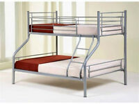Single Double Alaska Triple MEtal BunkBed Frame with Original Deep Quilted Mattresses- Brand New