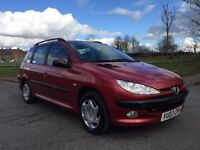 PEUGEOT 206 ESTATE GREAT CAR OCT MOT NO ADVISORIES SERVICE HISTORY ( FORD VAUXHALL MAZDA RENAULT)