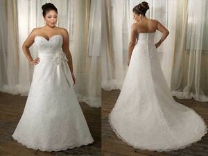 Plus size LACE Mori Lee dress, A-line, with sweetheart neckline.