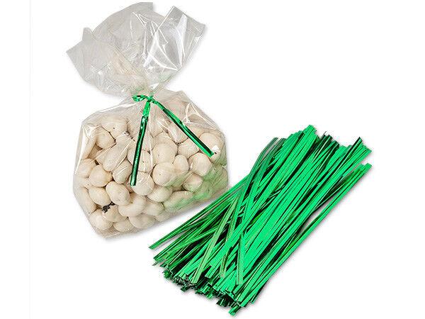 200 Foil Metallic Green 27 Gauge Wire Twist Ties Holiday Christmas ...