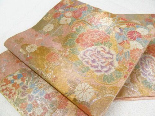 Japanese Kimono SILK FUKURO OBI Chrysanthemum, FLOWER(4493-1800)