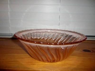 """Jeannette Glass Co ~ Vintage 1938 Swirl Pink 9"""" Rimmed Salad Glass Bowl"""