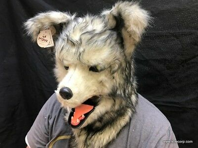 ADULT WOLF WEREWOLF ANIMAL MOUTH MOVING FURRY COSTUME OVER THE HEAD MASK SNOW  - Furry Masks