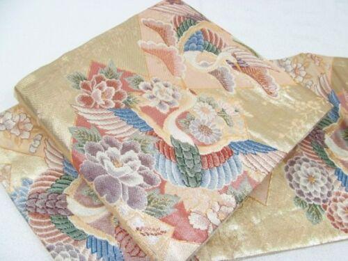 Japanese Kimono SILK FUKURO OBI FLOWER TSURU BIRD CRANE (4332-1600)