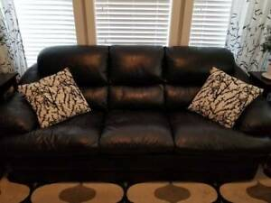 Genuine leather 3 piece couch set.