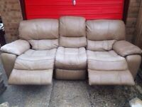3 seater leather recliner sofa with armchair