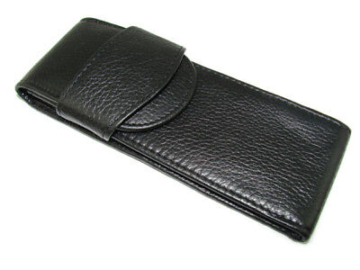 Black Real Leather Fountain Pen/Roller Pen Case Washed Cowhide Pen Pouch/Bag