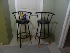 """2 Swivel Bar Stools 30 """" high & 16"""" wide and 10 """" backrest"""