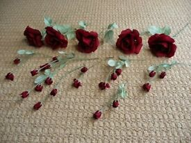 5 Artificial Burgundy Red Roses & 6 Rose Bud Stems for Flower Arrangement or Vases Mini Vases Crafts