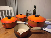NEW LOWER PRICE Set of 4 Le Creuset Saucepans - very poor condition
