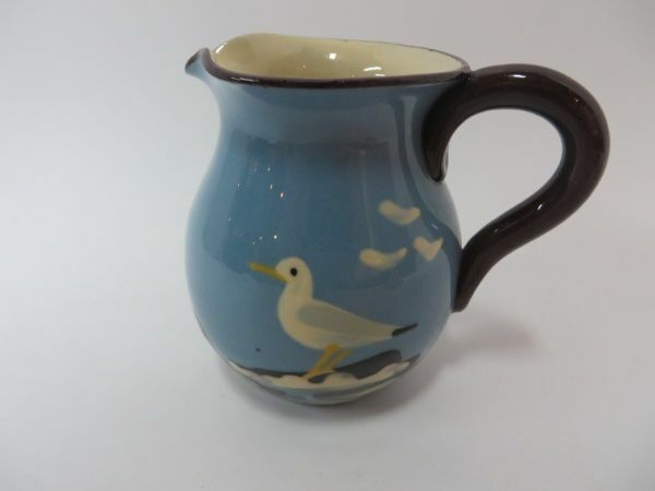 Vintage Torquay Pottery Blue & Cream Seagull Motif Pitcher