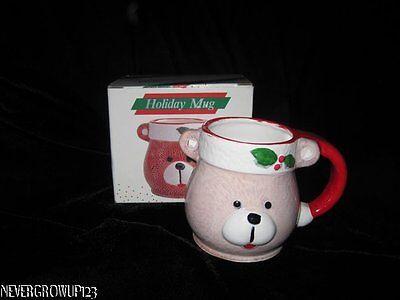 (VINTAGE 1989 HAND-PAINTED COLLECTIBLE CERAMIC TEDDY BEAR MUG~NIB)