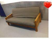 Futon Company BROWN 3 Seater OAK Sofa Bed. THICK Bi-fold Double Futon COST 1065.00 + I CAN DELIVER