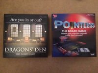 Pointless and Dragons Den Board game excellent condition no missing pieces bargain at £1 each