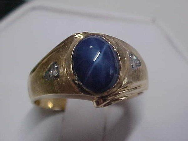 *VINTAGE*MENS BLUE STAR SAPPHIRE & OLD CUT DIAMOND RING 14K YELLOW GOLD  sz11.25